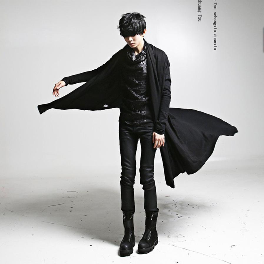 新韓版斗篷披風長款T恤外衣男式個性非主流秋裝演出代發