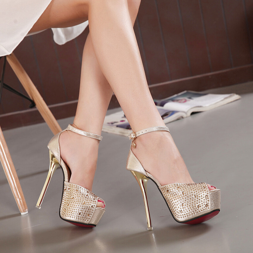 no stock Fish mouth female fashion waterproof paint with thick thin bottom high-heeled women's shoes's main photo