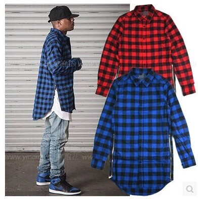 HZIJUE Red Blue Scottish Plaid Long Sleeve Flannel shirt Men Dance ...