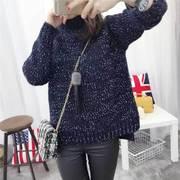 2015冬季新款前短后长高领加厚套头毛衣韩版开叉宽松短款针织衫