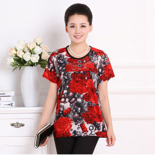 The new middle-aged women's summer short-sleeved T-shirt summer women's large size mother dress factory direct s