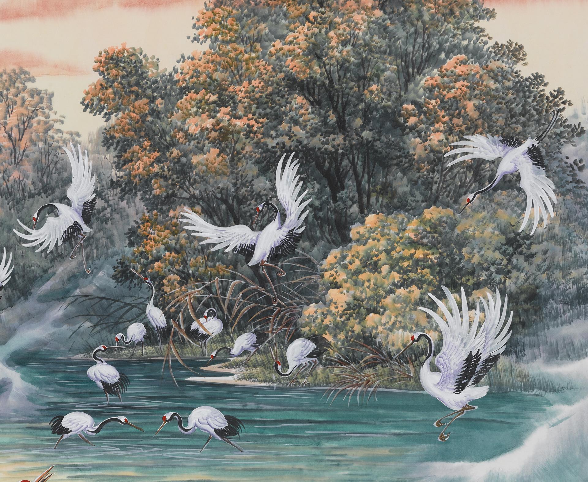 字画批发 国画 仿古画复制 厂家直销 山水风景画 客厅装饰画 鹤