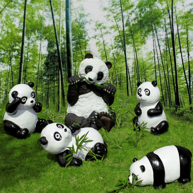 工艺品仿真熊猫花园动物摆件户外公园林景观雕塑婚礼道具别墅装饰