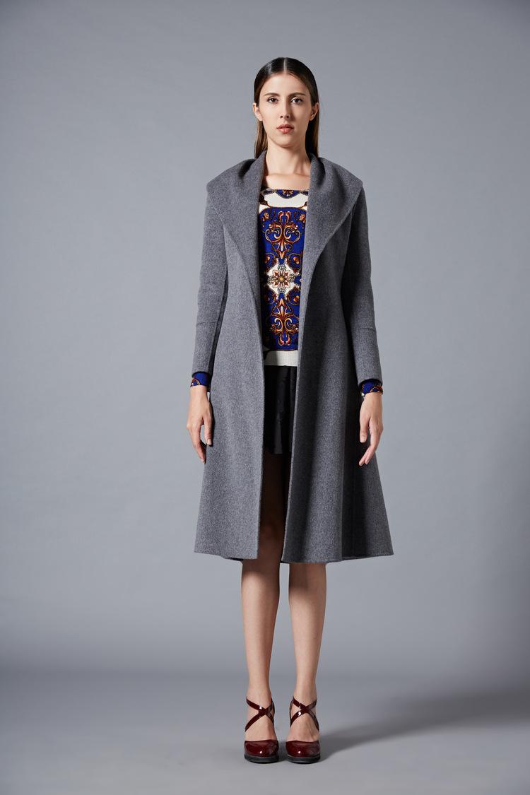欧美品牌秋冬风衣女装上衣 欧洲站高端手工外套女士长款羊绒大衣图片