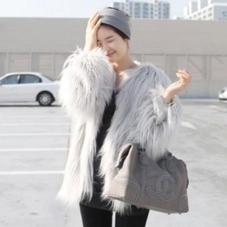 外贸女士中长款外套 欧美高档时尚海宁保暖长毛皮草外套女