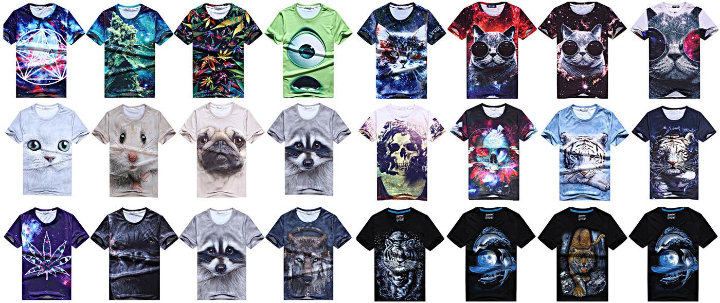 新款外贸立体动物个性创意图案代购3d短袖t恤潮男士女短袖恤动物