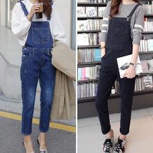 新款品牌牛仔女士黑蓝色直筒破洞牛仔背带裤女长裤 韩国学院风