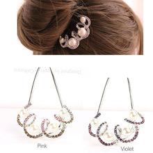 韩版新款水钻头饰批发 时尚盘发珍珠发梳新娘U型插梳 厂家直批