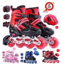 厂家直销 可调节儿童全闪光直排单排旱冰鞋溜冰鞋四轮 轮滑鞋套装