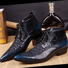 新款韓版高幫高跟尖頭皮鞋鐵頭真皮男鞋英倫休閑發型師鞋增高靴子