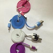 厂家v8彩色面条数据线/三星苹果小米手机数据线/USB充电线