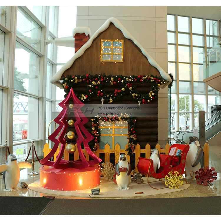 圣诞节圣诞树场景布置花灯圣诞礼品 创意景观小品圣诞树小屋装饰
