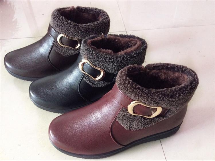杂款鞋 高帮软底 冬季老人棉鞋 中老年妈妈鞋 PU皮鞋 加绒