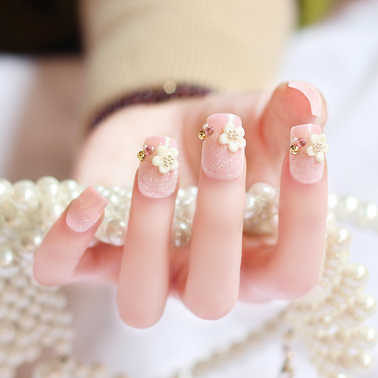 Finished fake nails nail tools wholesale pearl flower patches 24