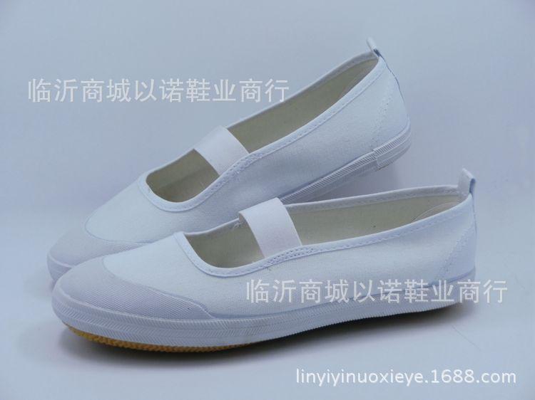 鲁泰舞蹈鞋女胶头帆布鞋儿童小白鞋幼儿园学生练功体操演出白网鞋