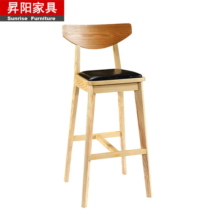 simple solid wood high chair bar front desk stool back bar c
