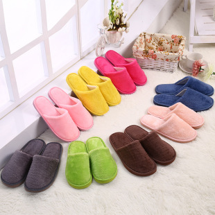The new autumn and winter home plush indoor flooring slip warm cotton slippers mute EVA month Cixi