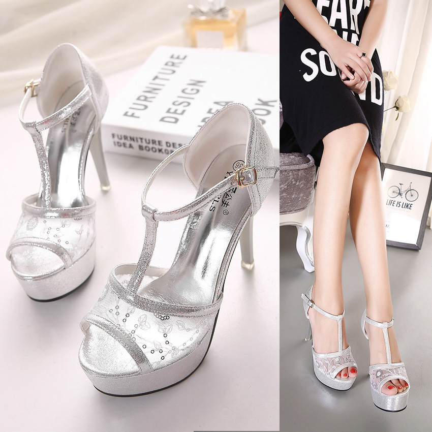 summer fashionable sandals waterproof fine lace with fish mouth high-heeled shoes T belt buck's main photo