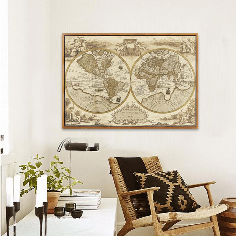 客厅装饰画_一件代发地图客厅装饰画书房会议室挂画