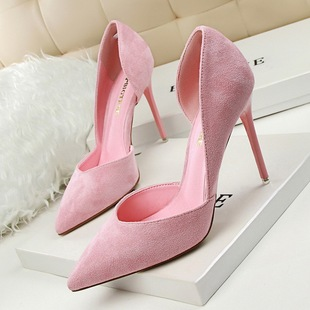 delicate show thin fine with high heels suede shallow pointed mouth shoes