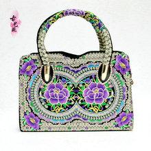 新款绣花手提包民族风双面刺绣斜挎包云南女款包定型包提包