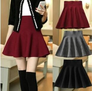 Solid color knit skirt pleated skirt 2016 College Wind Korean women's autumn and winter women's skirts, a genera