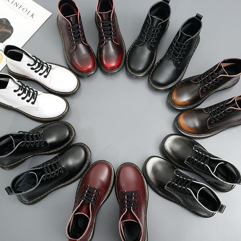 女鞋新款牛津鞋真皮女短靴粗跟女靴系带擦色女鞋批发马丁靴女