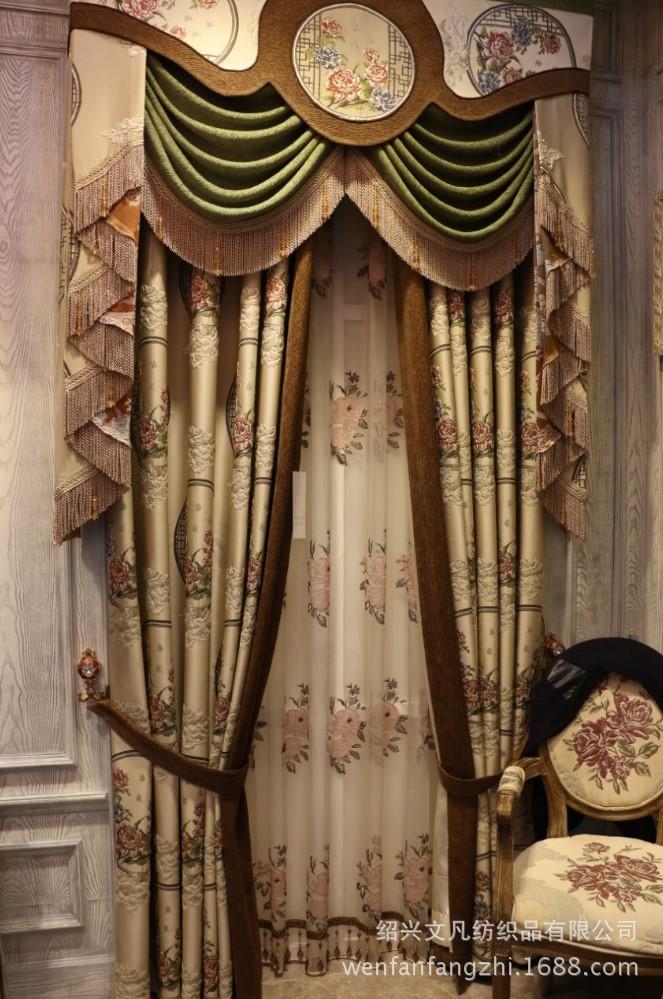 新中式古典牡丹花开窗帘布高档别墅装修窗帘图片