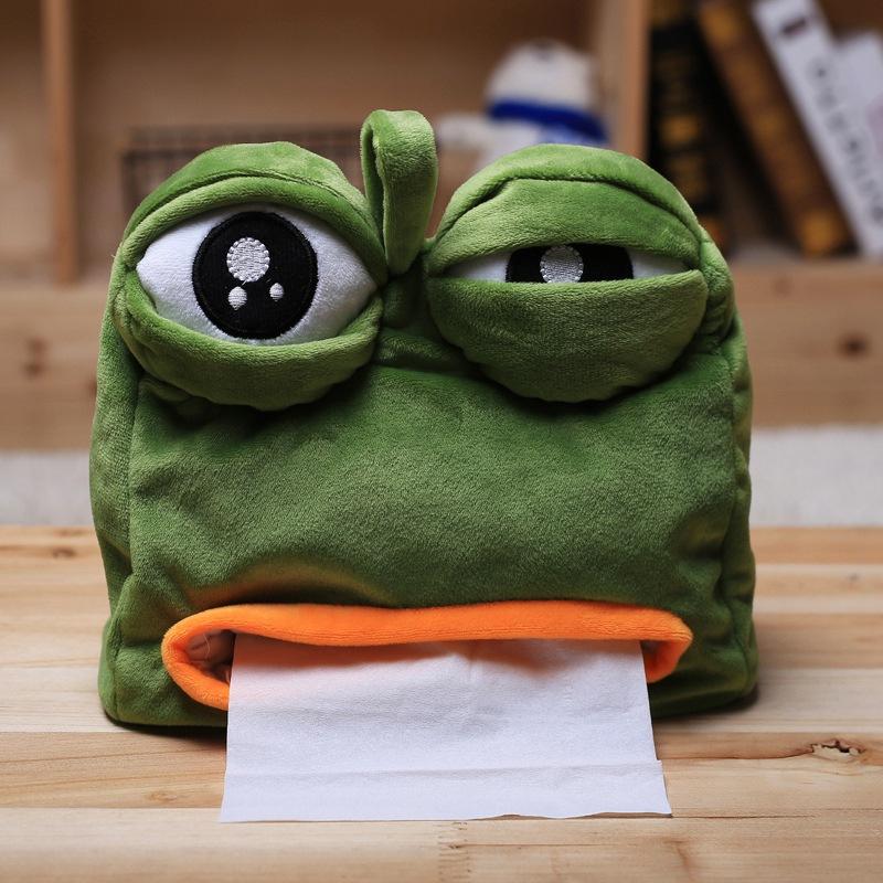 悲伤蛙纸巾盒 悲伤青蛙 sad frog精神污染动漫周边毛绒抽纸盒-悲伤蛙
