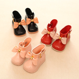 mini sed children rain boots bow baby girl fashion boots shoes Meng things slip water shoes boots