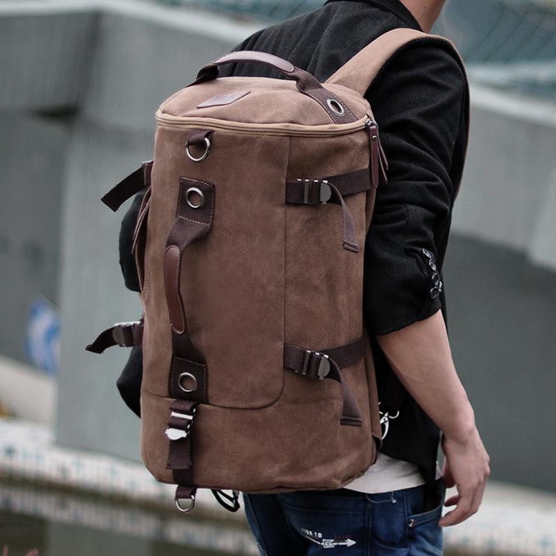 韩版帆布双肩包 男士潮流学生书包青年旅行包 电脑多功能背包