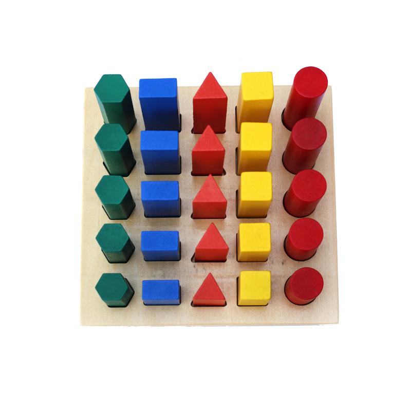 蒙氏几何体教具 木质积木玩具 幼儿园形状认知早教教具 厂家直销
