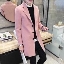 秋冬款毛呢大衣男韩版修身薄呢子外套 中长款潮男士风衣青年男装
