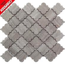 卡莎罗厂家直销 卫生间背景墙灰木纹水刀石材马赛克 KSL-151205