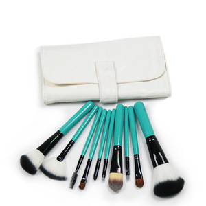 10 Makeup Brush Set / White / green button beauty tool bar foreign trade manufacturers customized explosion models