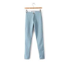欧美AA女款高腰弹力紧身显瘦包臀牛仔裤铅笔裤小脚裤长裤彩色版