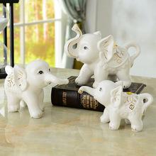 結婚禮物創意一家三口小象客廳電視柜酒柜工藝家居裝飾品大象擺件