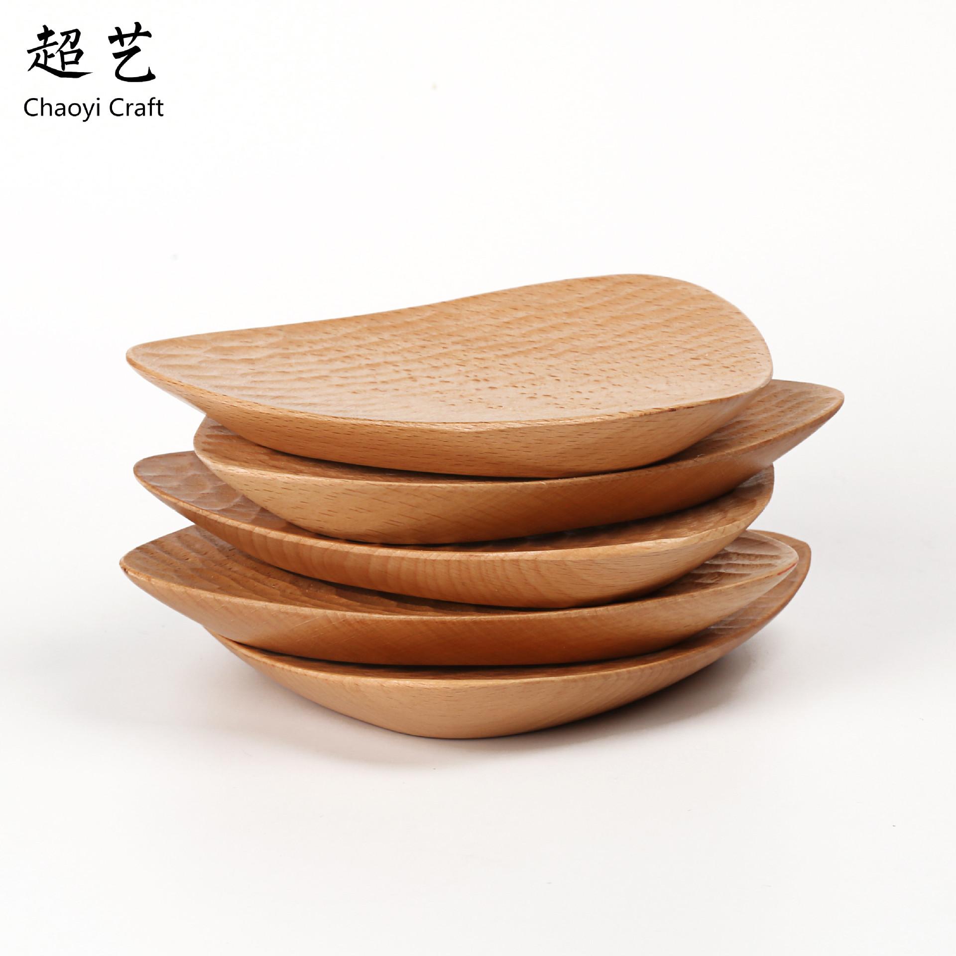 超艺外贸原单 手工雕刻龟甲榉木碟 三角点心碟子 木质餐具