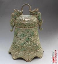 古玩古董杂项铜器仿古铜器钟双龙钟仿古铜钟家居装饰摆件