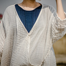 壹念 ?#21512;?#26825;麻禅意白色中长袖复古开衫 女式盘扣系带防晒风衣外套