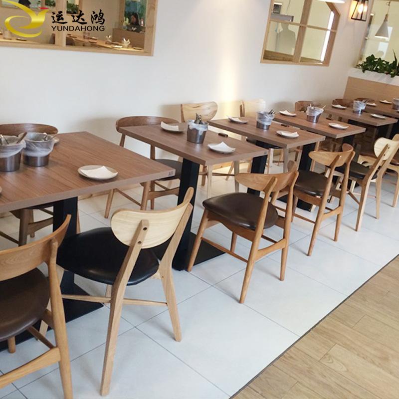 实木奶 font color=red>茶 /font>甜品店实木餐桌椅组合质优价廉图片
