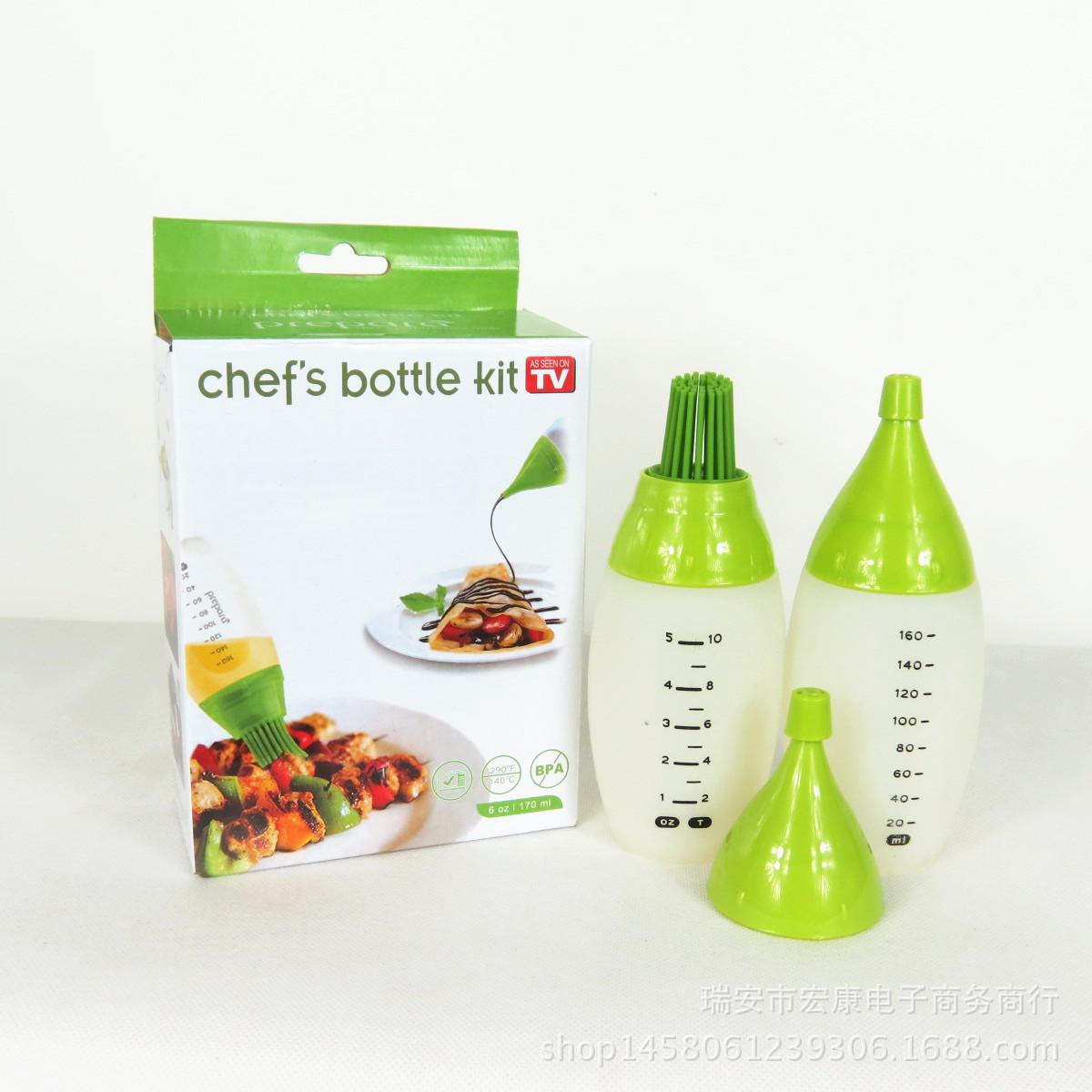 厂家热销 chef's bottle kit 硅胶油瓶刷 烧烤刷 调料工具 TV
