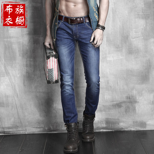 Cloth family wardrobe summer thin section men's jeans feet long pants Slim trousers men's jeans tide