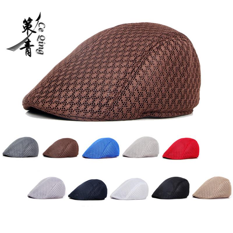 帽子批发韩版男女贝雷帽纯色镂空网眼鸭舌帽前进帽透气夏季太阳帽