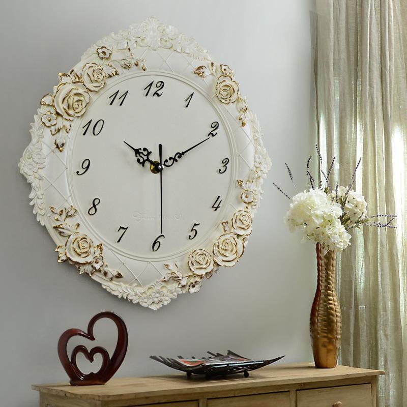 一件代发 欧式创意挂钟客厅时钟酒店餐厅钟表静音挂表工艺品批发