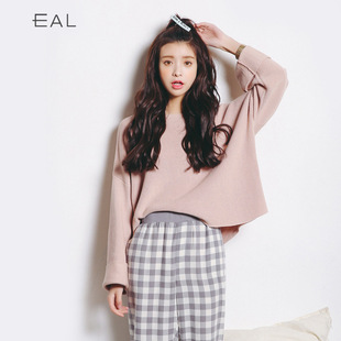 New winter sweater Korean female sweater bottoming shirt solid color sweater horn sleeve loose sweater L102