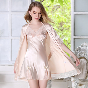 Summer silk pajamas sexy female clothing Home Furnishing short sleeved robe two piece sling Nightgown one generation 680