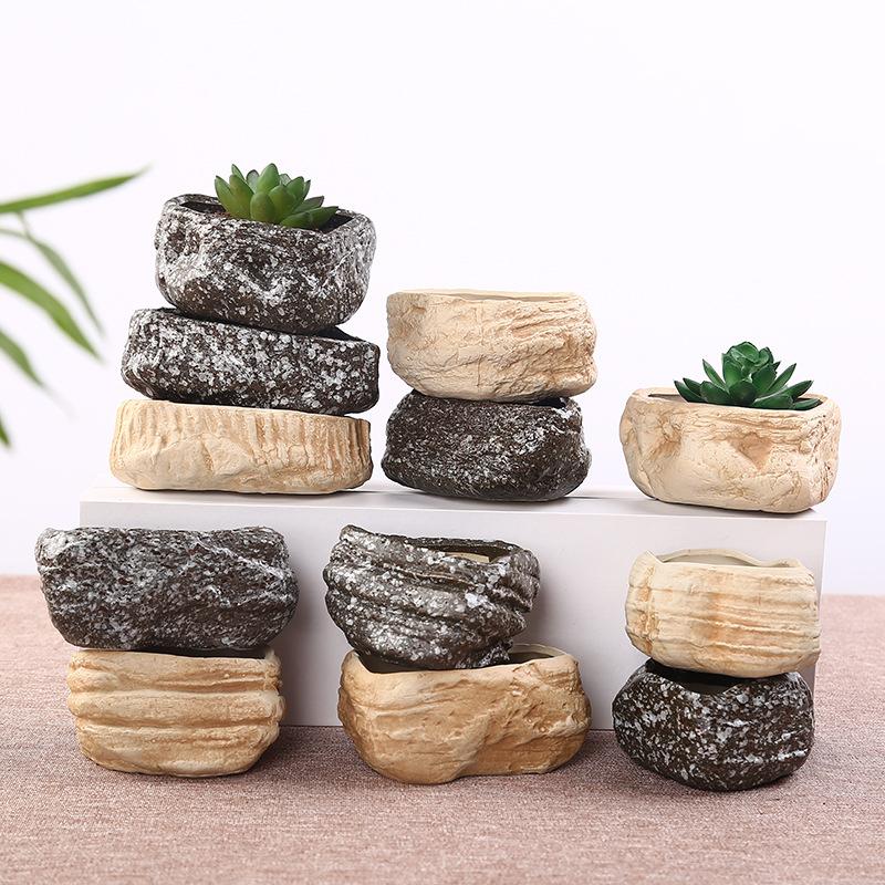 石头花盆 多肉植物花盆窑变创意陶瓷花盆zakka小摆件厂家现货批发