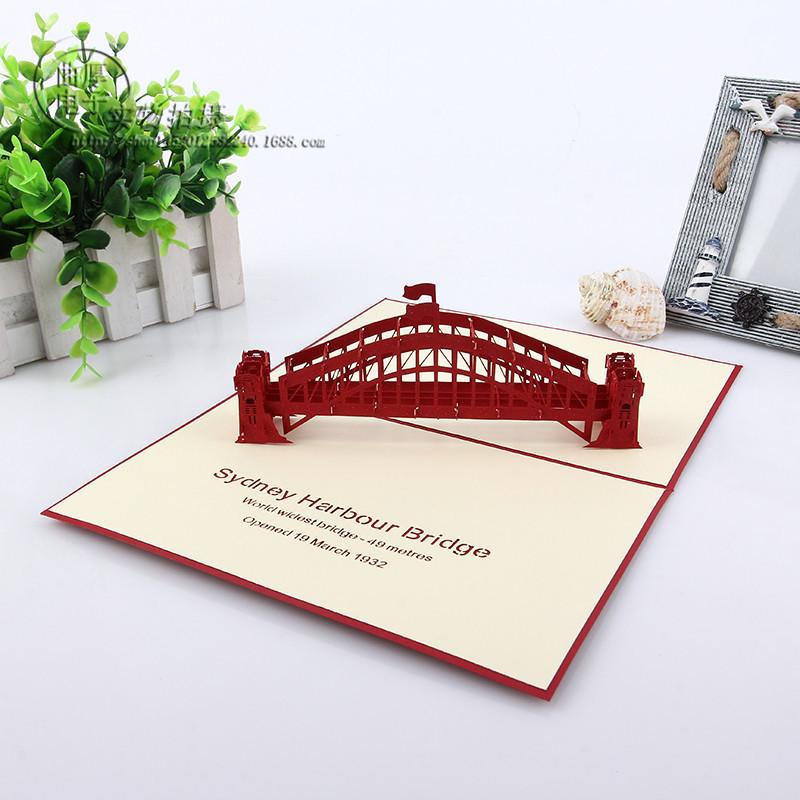 精致手工纸雕立体悉尼桥贺卡 可定制剪纸3d祝福卡 可来图定制