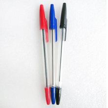 自由马圆珠笔黑色 简易圆珠笔办公原子笔 透明笔杆塑料圆珠笔批发